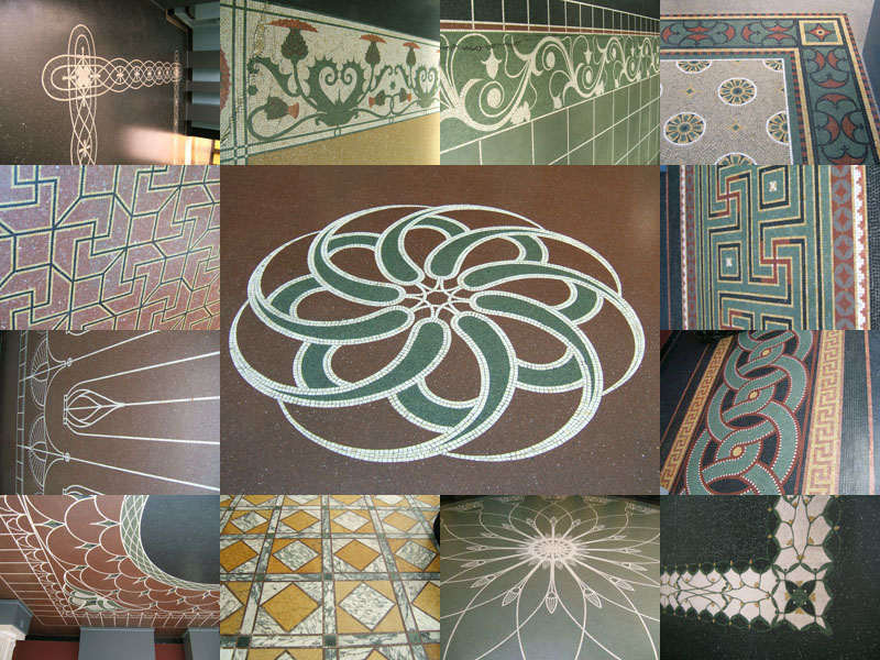 Composite picture showing many floor patterns in the Glyptotek.