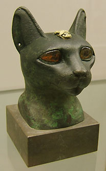 Egyptian cat head statue