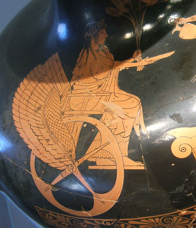 Winged Greek wheelchair picture on vase.