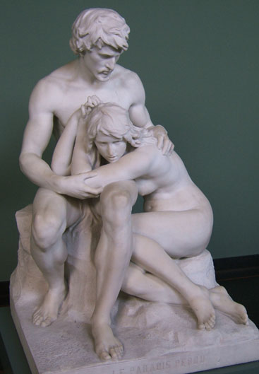 'La Paradis Perdu' - Paradise Lost, a statue of Adam and Eve after The Fall.